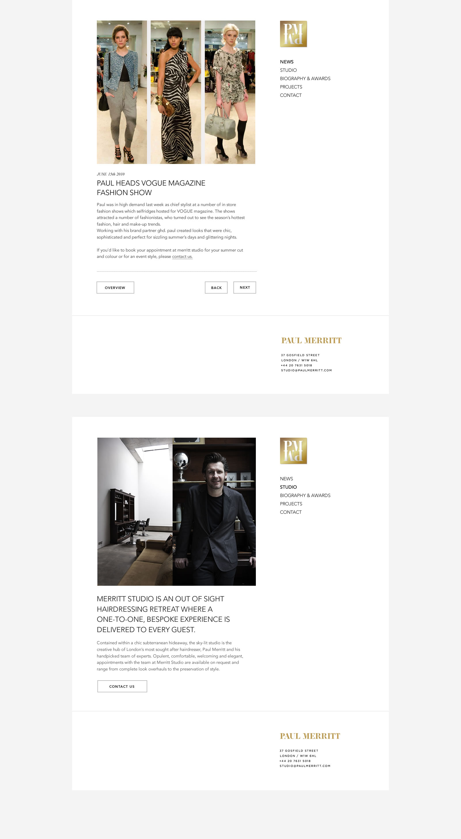 Paul Merritt Studio Website Worksample